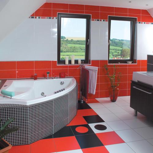 Fancy bathroom with red tone wallpaper