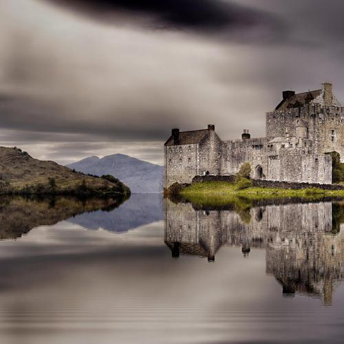 Fantastic castle reflection on a lake Hdr wallpaper