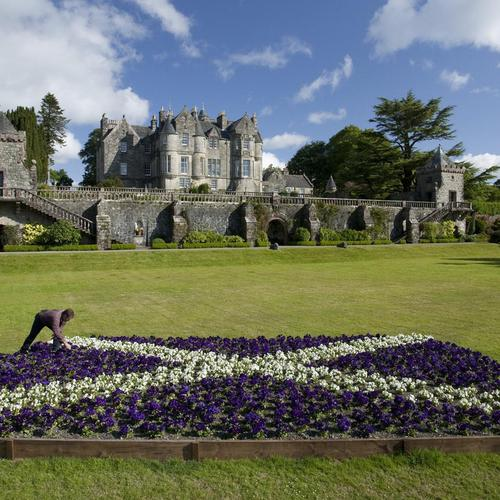 Fantastic Castle With Scottish Flag In Flowers wallpaper