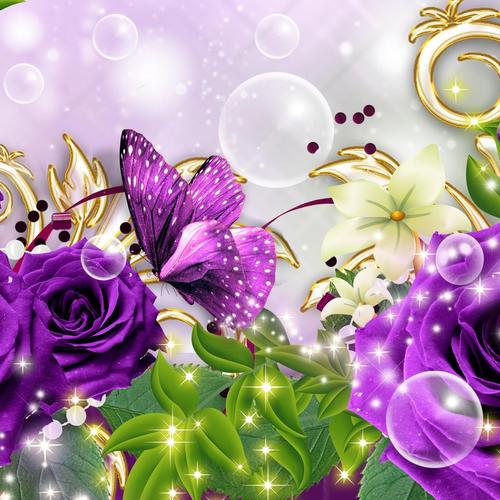 Fantastic purple collage wallpaper