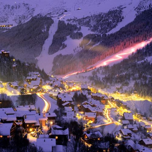 Fantastic ski resort at night wallpaper