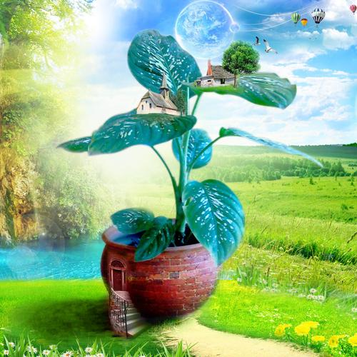 Fantasy green plant wallpaper