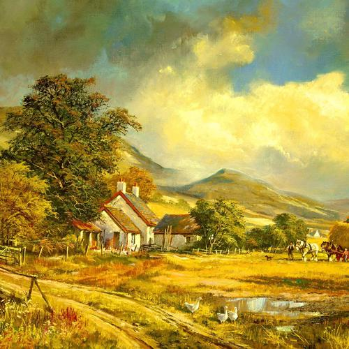 Farm painting wallpaper