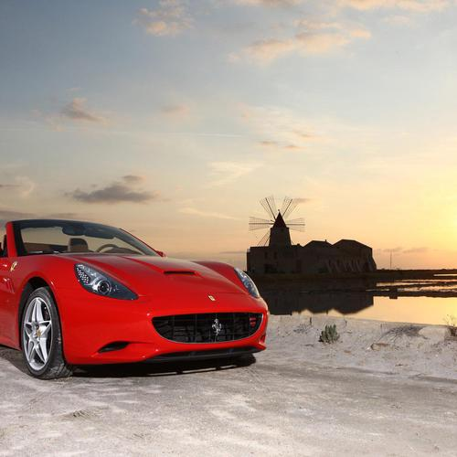 Ferrari Califonia on snow