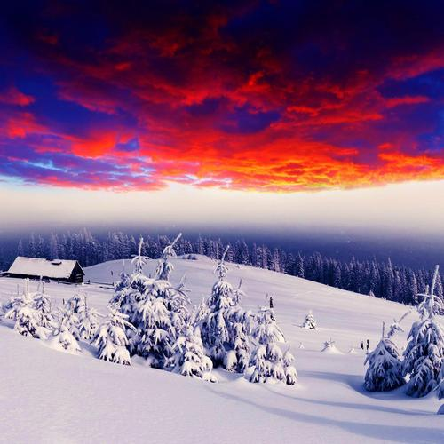 Fiery Sky and snow moutain wallpaper
