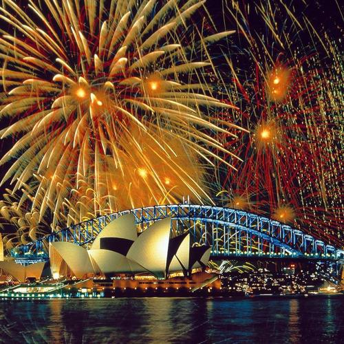 Fireworks Over The Sydney Opera House Sydney Harbour Bridge