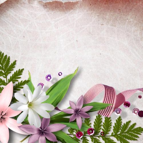 Flowers beads ribbon wallpaper