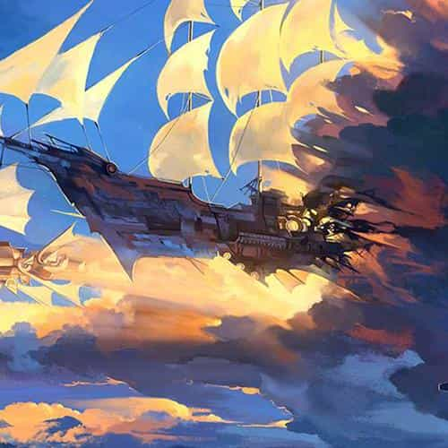 fly ship anime illustration art