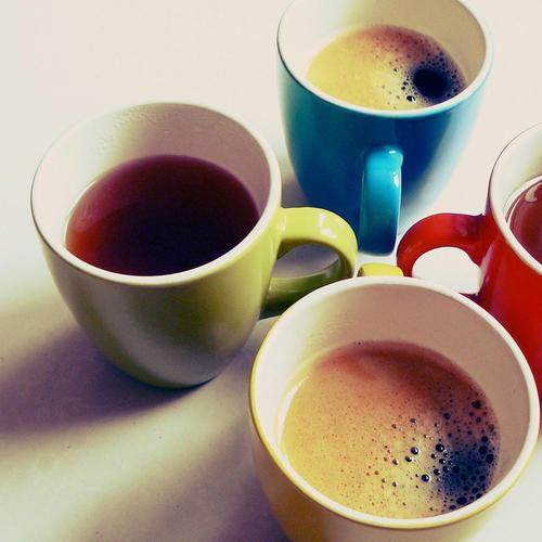 Four colorful Tea Cup