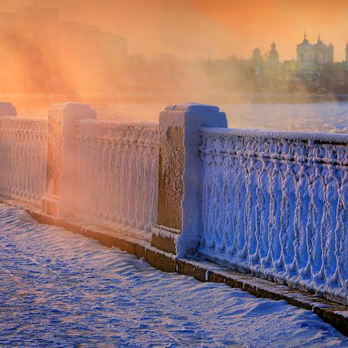 Frozen handrail in Russian winter wallpaper