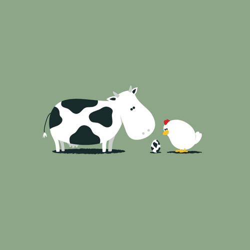 Funny combination between milk cow and chicken wallpaper