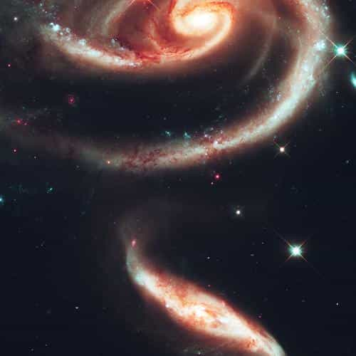 galaxy universe space dark illustration art red