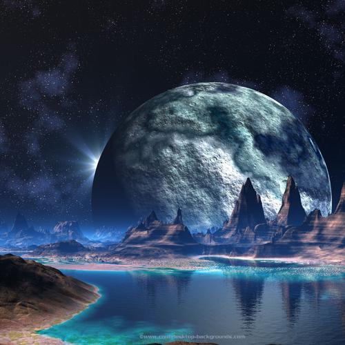 Giant moon in fantasy world wallpaper