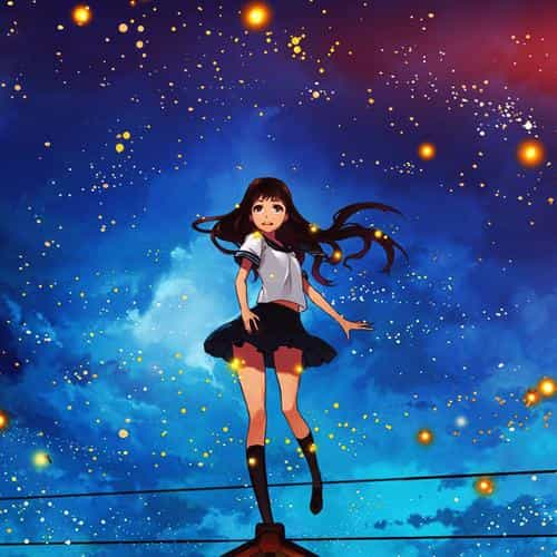 girl anime star space night illustration art flare