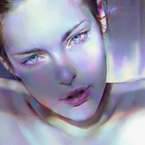 girl blue face sexy paint anime illustration art yanjun cheng