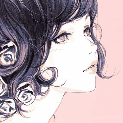 girl flower lady pink ilya kuvshinov illustration art