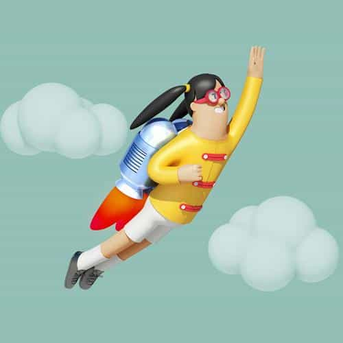 girl fly 3d illustration art