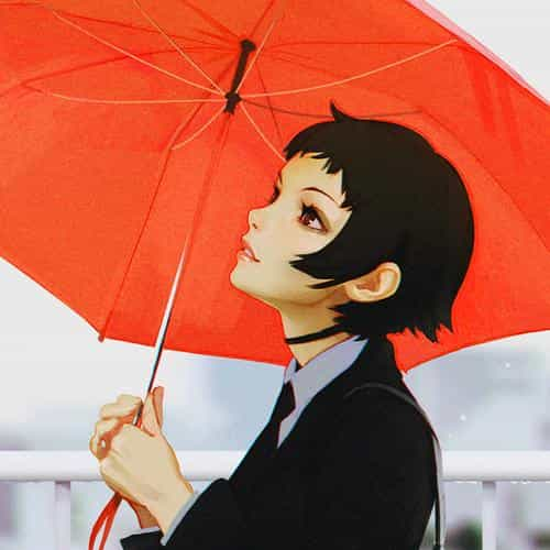 girl rain umbrella ilya kuvshinov red illustration art soft