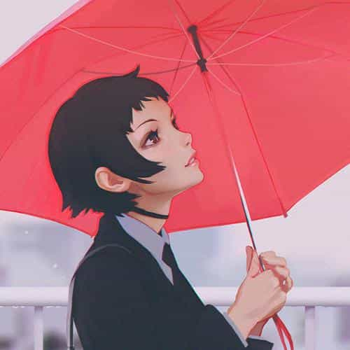 girl rain umbrella ilya kuvshinov red illustration art