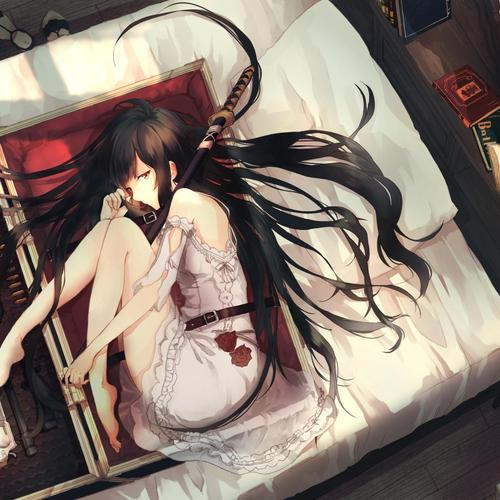 Girl sleeping with weapons wallpaper
