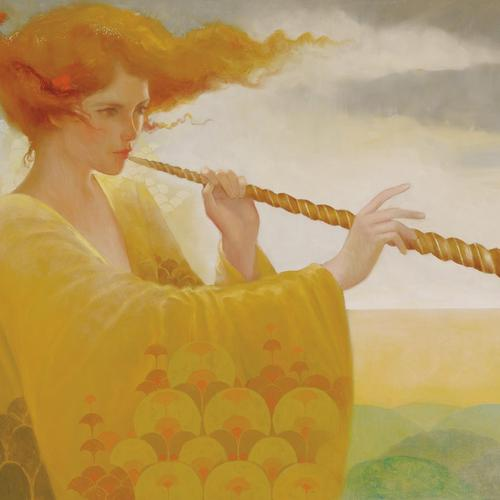 Girl with a flute painting wallpaper