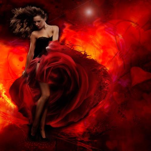 Girl with red dress on flame wallpaper