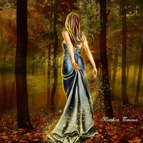 Goddess in the autumn forest