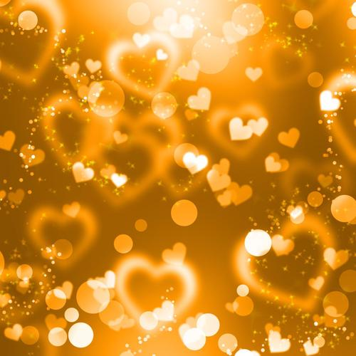 Gold hearts bokeh