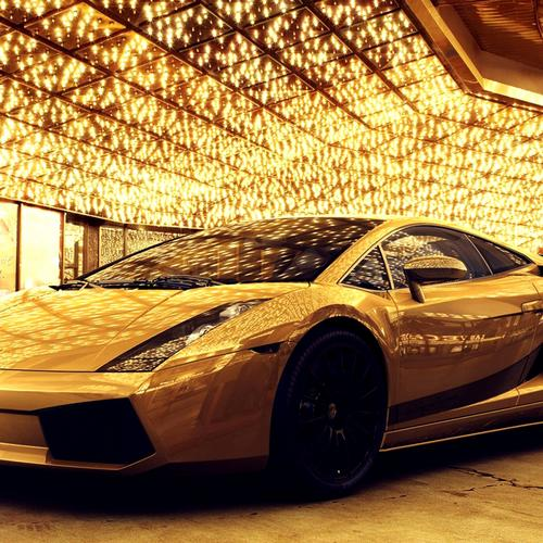 Golden Lamborghini in yellow light