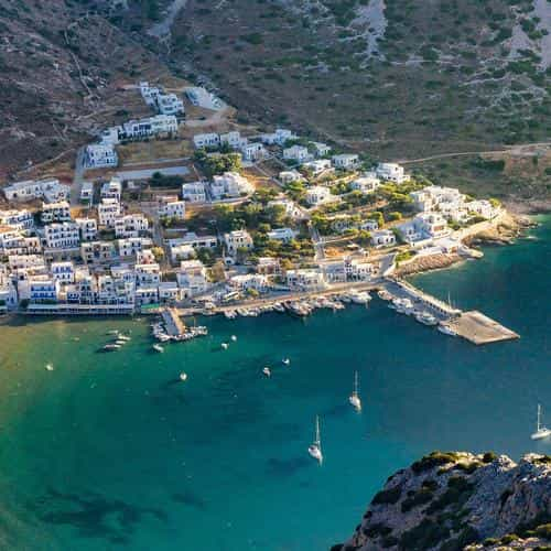 greece beach town sea mountain summer vacation