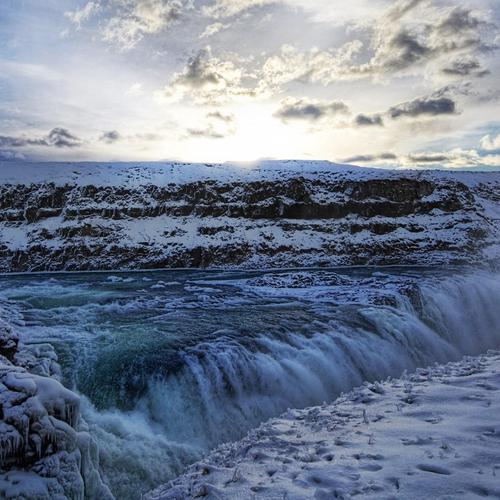 Gulfoss Frozen Waterfalls behang