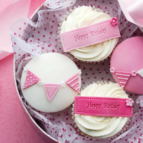 Happy Birthday pink cupcakes wallpaper