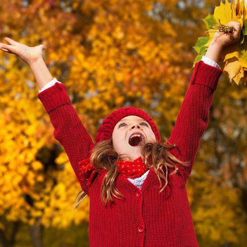 Happy girl holding autumn leaves wallpaper