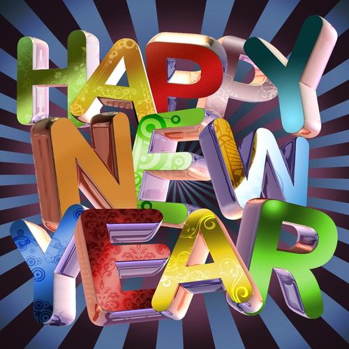 Happy new year 3d text