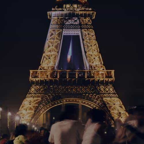 happy paris eiffel tower france tour night city darken