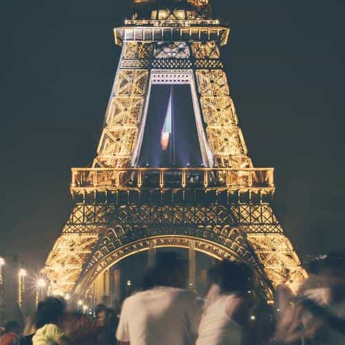 happy paris eiffel tower france tour night city