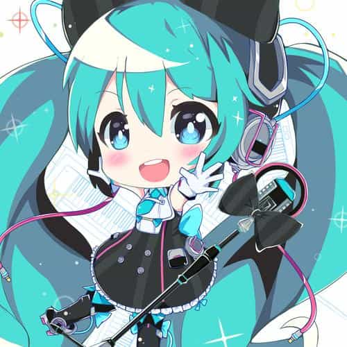 hatsune miku anime girl blue illustration art