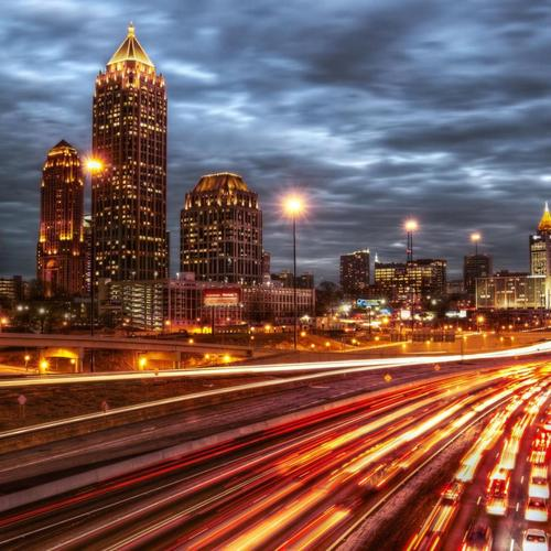 Highway Lights Into Atlanta Hdr tapet