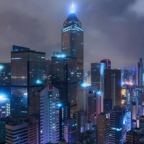 Hong Kong under a cloudy twilight