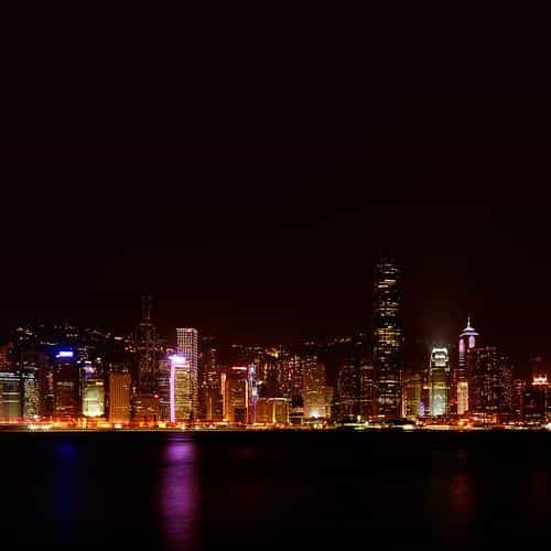 hongkong skyline city dark art