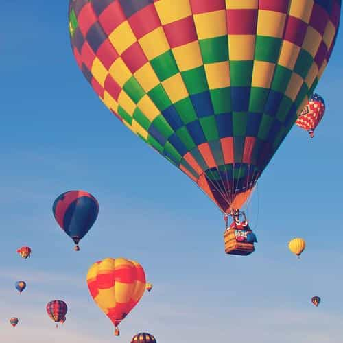 hot air balloon party nature sky