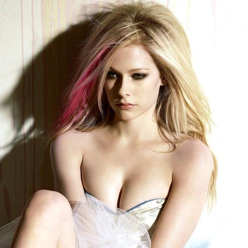 Hot Avril Lavigne in white dress