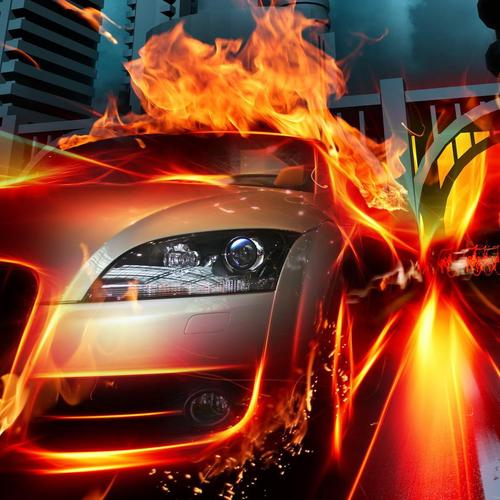 Hot car on fire