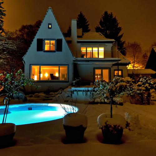 Hot swimming pool in winter