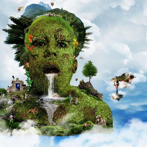 Human head nature 3D wallpaper