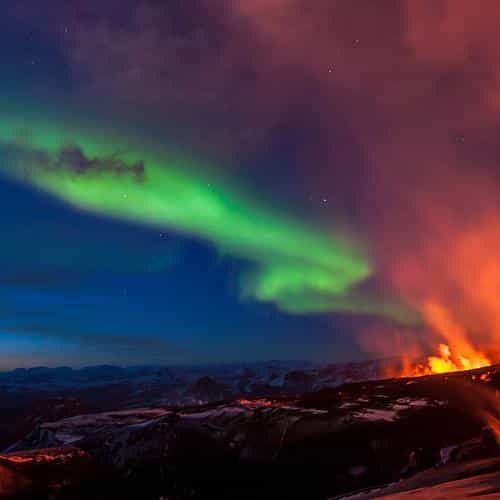 iceland mountain fire nature