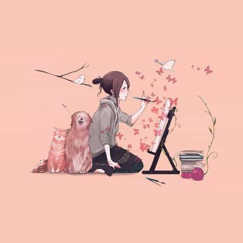illustrator dog cat pink art illust