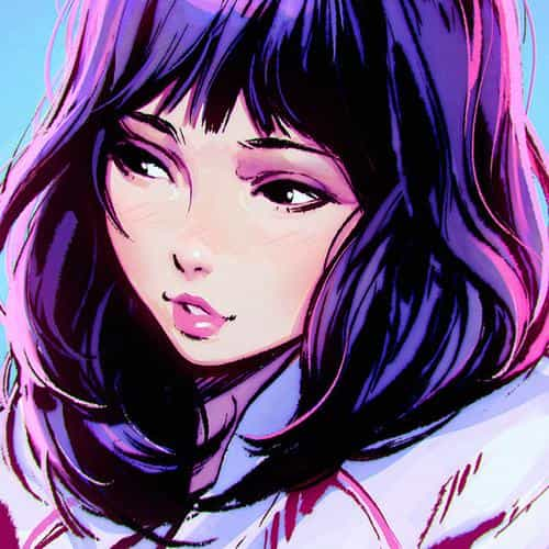 ilya kuvshinov girl purple face illustration art