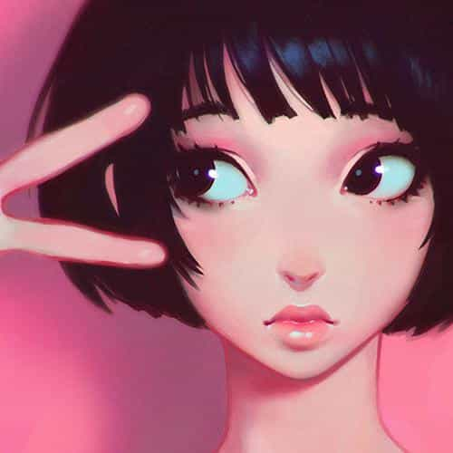ilya kuvshinov pink girl illustration art