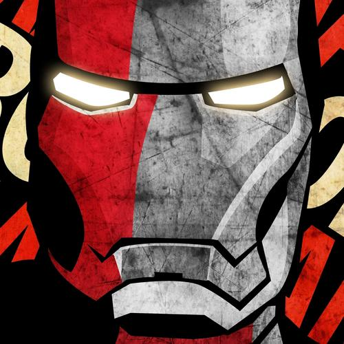 Iron Man mask in propaganda style wallpaper